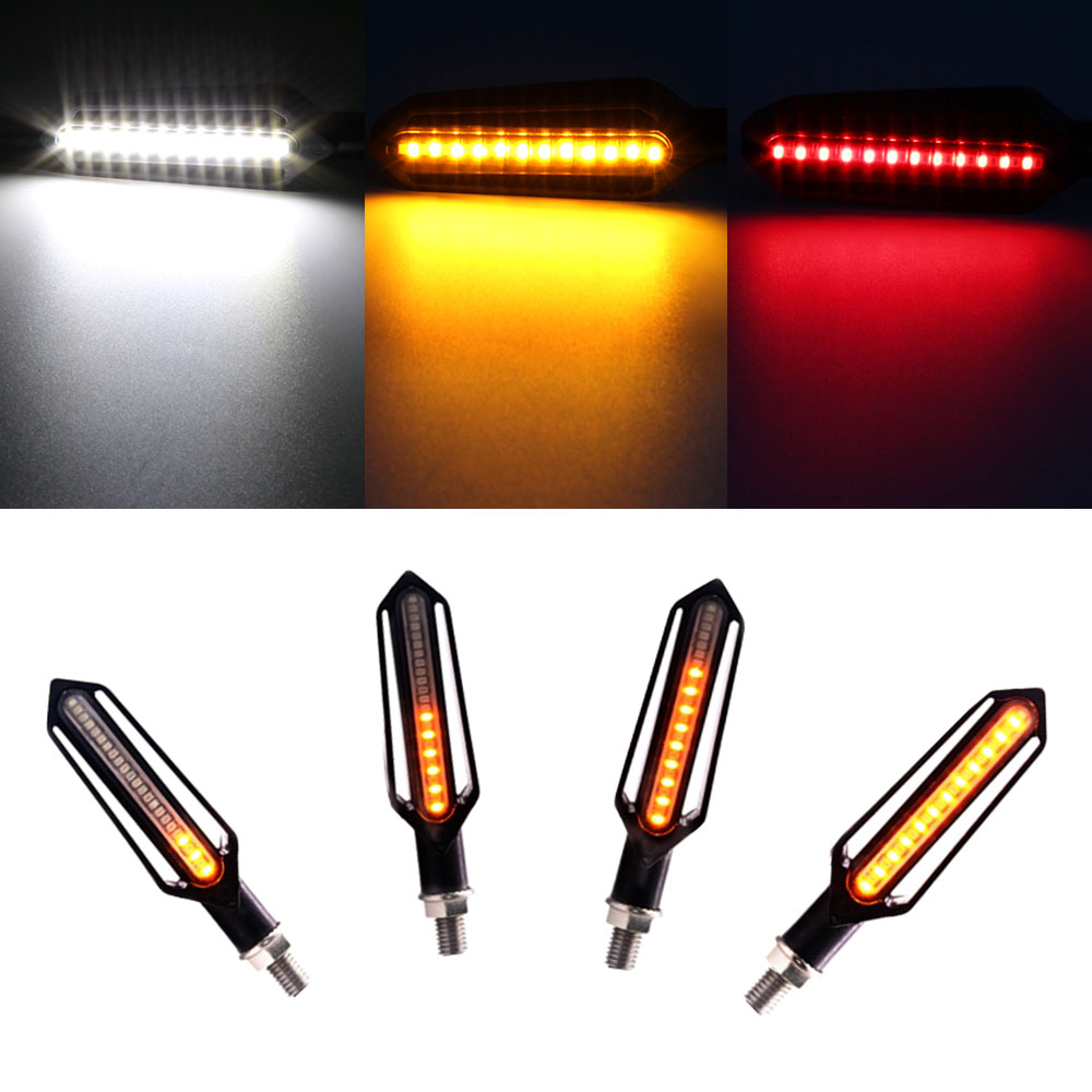 4pcs Motorcycle Turn Signals Led Flowing Water Flashing Lights Brake Signals Tail Indicator Running Light Drl Bendable For Honda Home