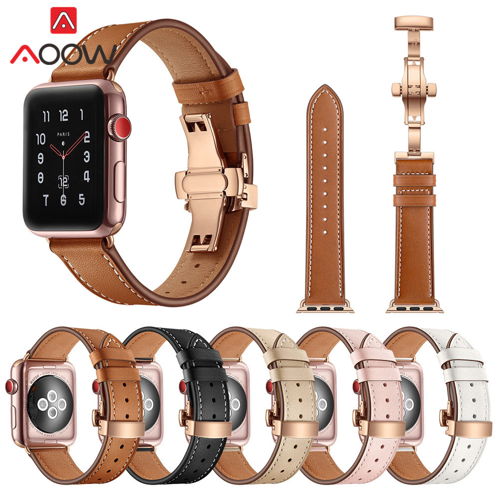 Genuine Cow Leather Watchband for Apple Watch 38mm 42mm Luxury Rose Gold Butterfly Buckle Bracelet Strap Band for iwatch 1 2 3 стоимость