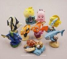Disney achando nemo dory 4 7cm 9 pçs/set mini figura de ação, modelo de coleção anime, estatueta de brinquedos modelo para crianças