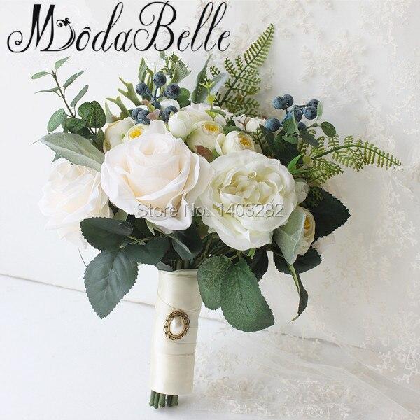 Bosque de La Boda Ramos De Novia 2017 Rosas Blancas Ramo de Novia Novias Ramo Flores de La Boda Ramos de Flores Broche de Bruidsboeketten