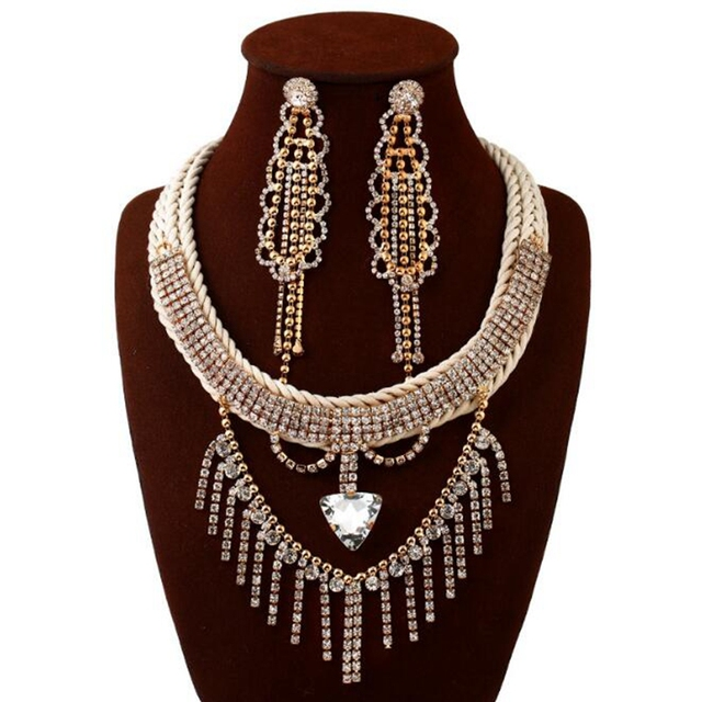 Fashion Vintage Crystal Cluster Long Tassel Chunky Choker Collar Bib Statement Necklace Pendant Drop Earrings Set for Women