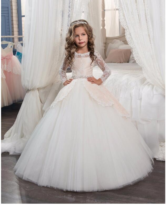 Girls Wedding Formal Dresses 2018 Autumn Tailing Catwalk Gauze Prom Ball Gown Flowers Girls Princess Dress Kids Long Party Dress girls wedding formal dresses 2018 lace tailing catwalk gauze prom ball gown flowers girls princess dress kids long party dress