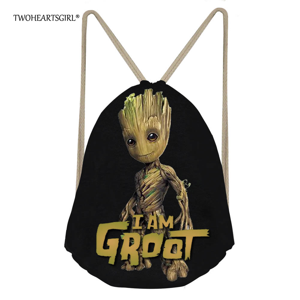 TWOHEARTSGIRL Black Cartoon I Am Groot Drawstring Bag For Boys Cool School Kids Travel Backpack Small Women Storage Rucksack