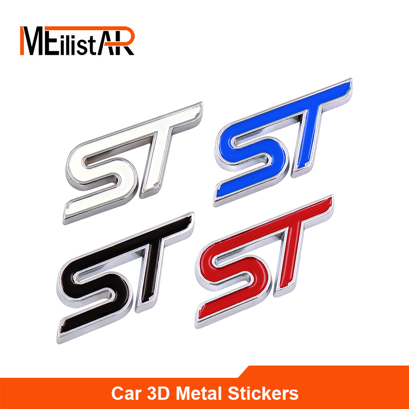 3D ST Racing Motorsport Emblem Badge Decal Sticker For FORD Focus 2 Focus 3 FIESTA Kuga FUSION Mondeo Car Styling Accessories motorsport manager [pc jewel]