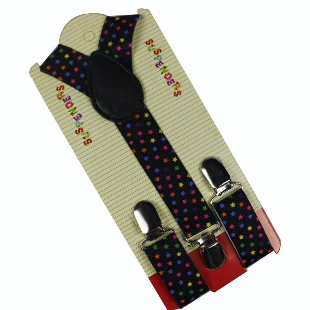 Winfox Adjustable 1 Inch Wide Kids Suspenders Star Trouser Navy Denim Suspender Boys Button Braces