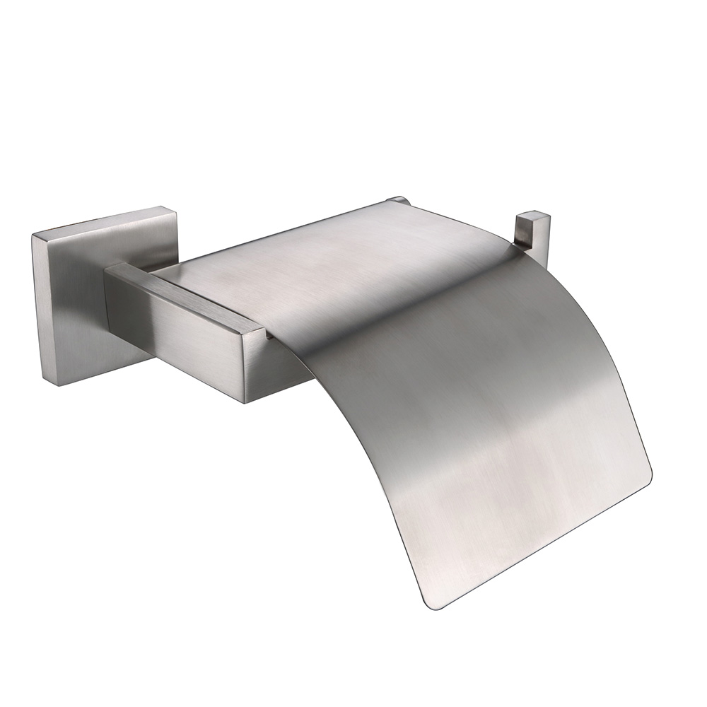 Stainless bathroom accessories - Auswind Modern Paper Box Stainless Steel Brushed Silver Paper Holder With Cover Wall Mount Bathroom Accessories