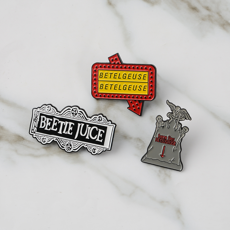 Horror Beetlejuice Brooch Tombstone Ghost Funny Comedy Movie Badges Dark Gothic Halloween Brooches for women men enamel pins image