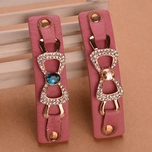 PU Leather Rhinestone Hair Clip Barrettes Geometry Bowknot Ladies Mix Color Hair Accessories