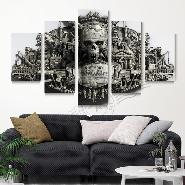 5 Panel Wall Art Skull Home Decor Painting Cuadros Decoracion Pictures For Living Room