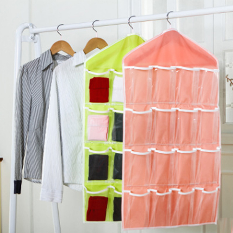16 Pockets Multifunction Underwear Sorting Storage Bag Door Wall Hanging Closet Organizer Bag Clean And Convenient Management