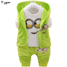 2017 Autumn Boys Clothing Sets Kids Coat Jacket+T Shirt+Pants 3 Pcs Children Sport Suits Baby Girls Boys Character Clothes Set