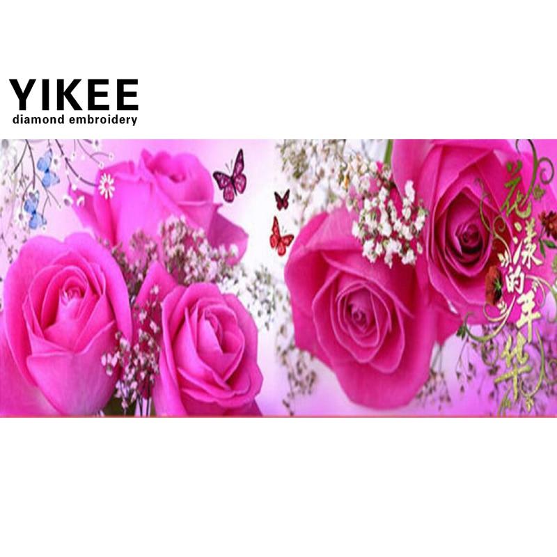 YIKEE A6117 전체 사각형 다이아몬드 페인팅, 꽃, - 예술, 공예, 바느질