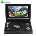 """7.8 """"pantalla lcd reproductor de dvd portátil con pantalla giratoria de 270 grados tv game player con usb/sd lector de tarjetas/av out/cargador de coche/gamepad"""