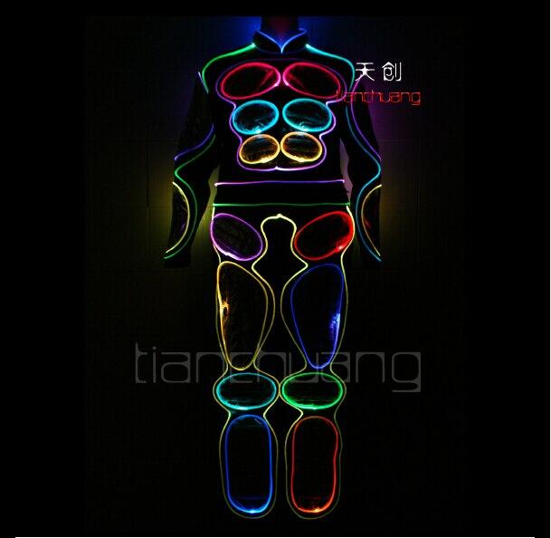 b3c1a7d1b7dca TC-81 Programlanabilir renkli giysileri Tam renkli LED ışık robot kostümleri  aydınlık dj balo salonu disco sahne performansı suits giymek
