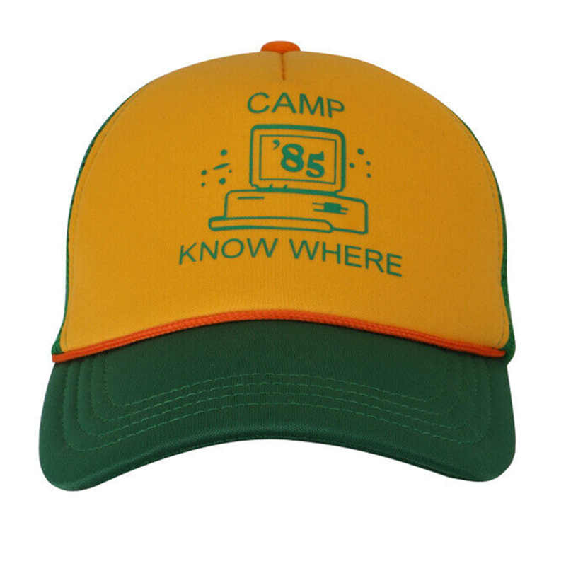 "Stranger Things Dustin Cosplay Baseball Hat Adult Kids ""Camp Know Where"" Green Yellow Cap"