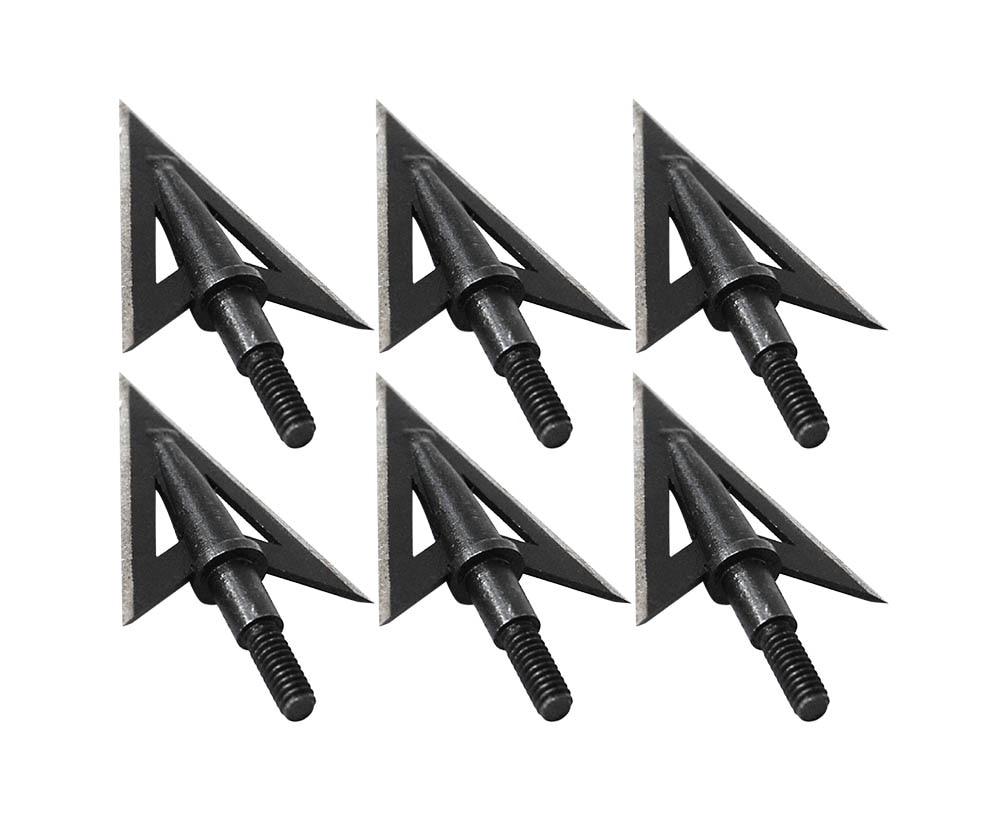 6pcs 100Grain Sharp Hunting Broadheads Arrow Heads Thread Screw In Archery Arrow Tips Head Points Archery Shooting Steel Black