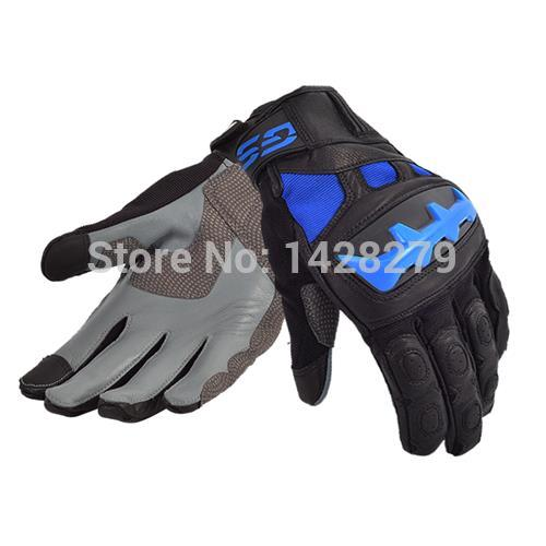 <font><b>GS</b></font> <font><b>Motorrad</b></font> Motorcycle Motocross Black/Red Blue Leather Racing Riding Gloves image