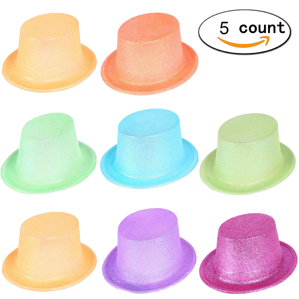 5Pcs Party Hats with Fluorescence Flash Powder Jazz Hats For Themed Birthday Parties New Year Caps Role Play Games Accessories