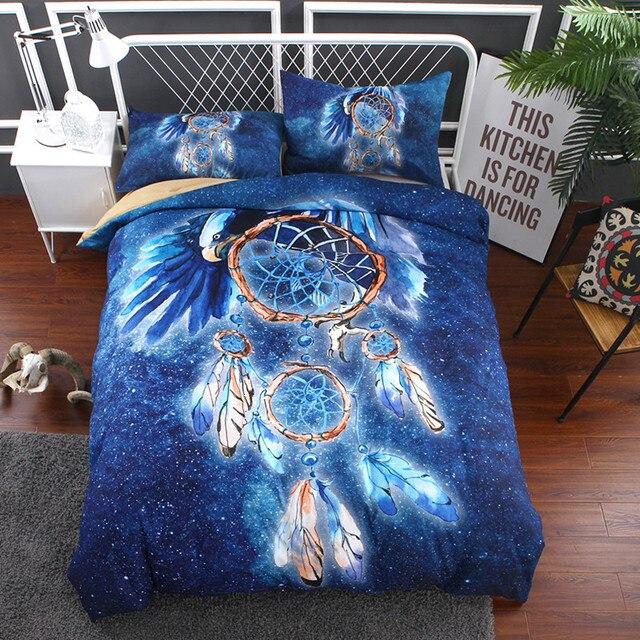 Yi Chu Xin Eagle Dreamcatcher Bedding Sets Queen Size Blue Bohemia