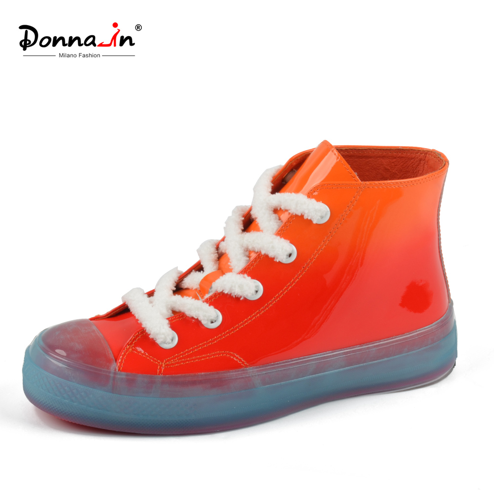 Donna-in Ankle Boots Women Rain Boots Patent Leather Martin Boots Lace Up Jelly casual shoes women Low Heels Waterproof shoes hellozebra women rain boots lady high shoes platform eva boots printing leather low heels waterproof buckle wearable appliques