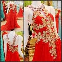 2014 New Design Real Sample A Line Floor Length Chiffon Crystal Beaded Sexy Kaftan Evening Dresses