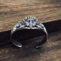 SOQMO 925 пробы серебро панк браслет Для мужчин ювелирных любовь повезло храбрые открытие Индийский браслет Для женщин подарок Fine Jewelry SQM094