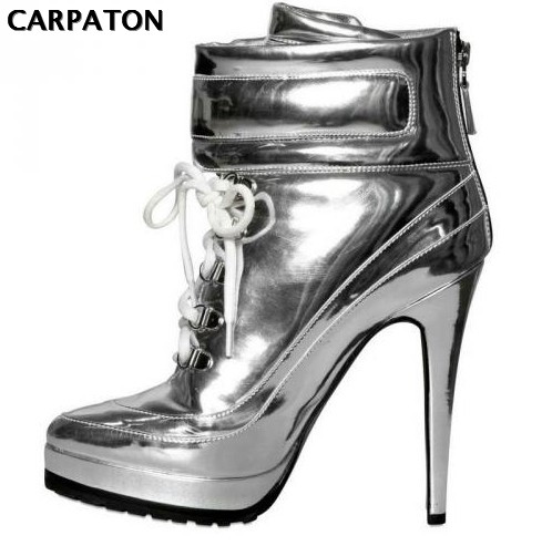 Здесь продается  Carpaton2018 Fashion Punk Style High Heel Boots Lace-up Ankle Boots For woman metallic Leather riding boots short boots silver   Обувь