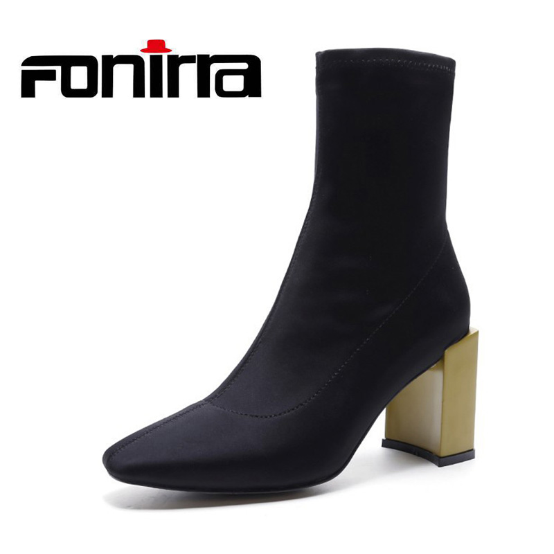 FONIRRA Women Fashion Ankle Elastic Sock Boots With Chunky Heels Sexy Stretch Short Boots Ladies Black Socks Shoes 660 fashion kardashian ankle elastic sock boots chunky high heels stretch women autumn sexy booties pointed toe women pumps botas