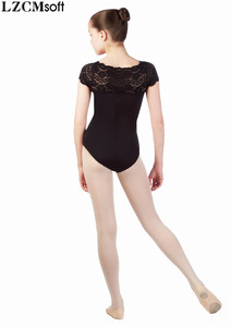 Image 3 - LZCMsoft בנות תחרה שחור בגד גוף ילד סטרץ ניילון קצר שרוולי בלט בגדי גוף Dancewear צוות ביצועים