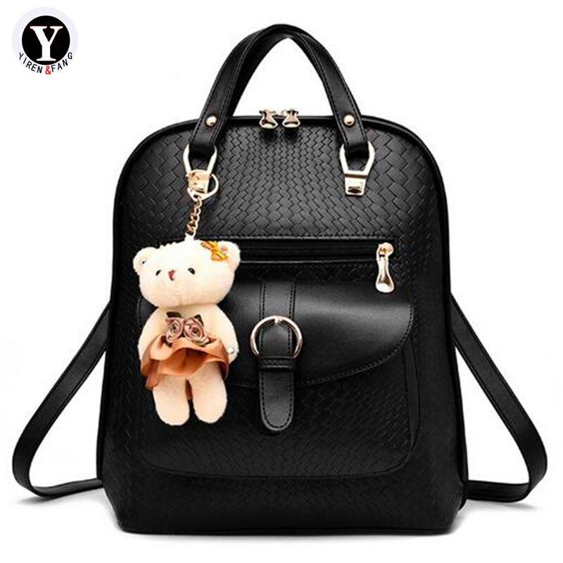 Yirenfang Frauen Rucksack 2017 Berühmte Marke Schultaschen Für Jugendliche Mädchen Leder Reiserucksack Reise Druck Frauen Tasche