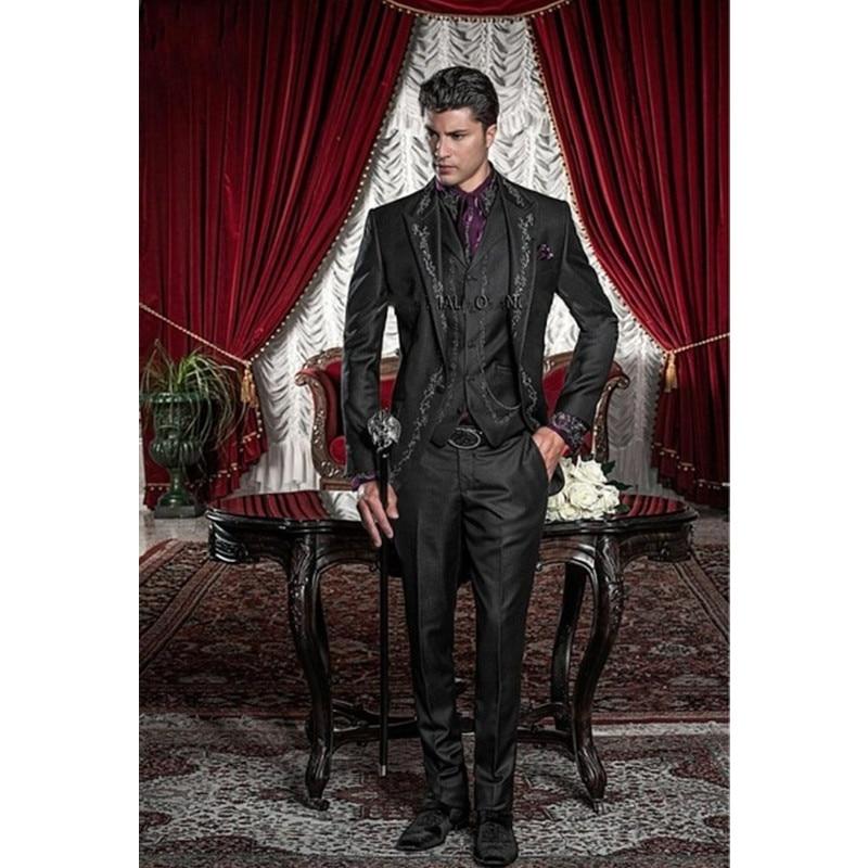 2019 Exquisite Embroidery Groomsmen Tuxedos (Jacket+Pants+Vest) Bespoke Black Groom Wedding Men Suit Set Prom Mens Suits Blazers