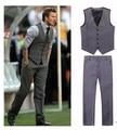 New Arrive Beckham bakham mens suits vest male casual slim vest pant set (vest+pant) Plus size M-XXXL Free Shipping