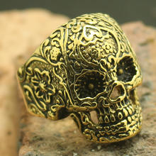Skull-Ring Biker-Flaming 316l-Stainless-Steel Cool Men Size-7 Boys To