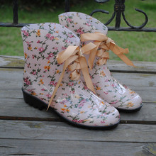 Fashion lace up women's transparent rain boots water shoes waterproof floral print rainboots female garden boots shoes