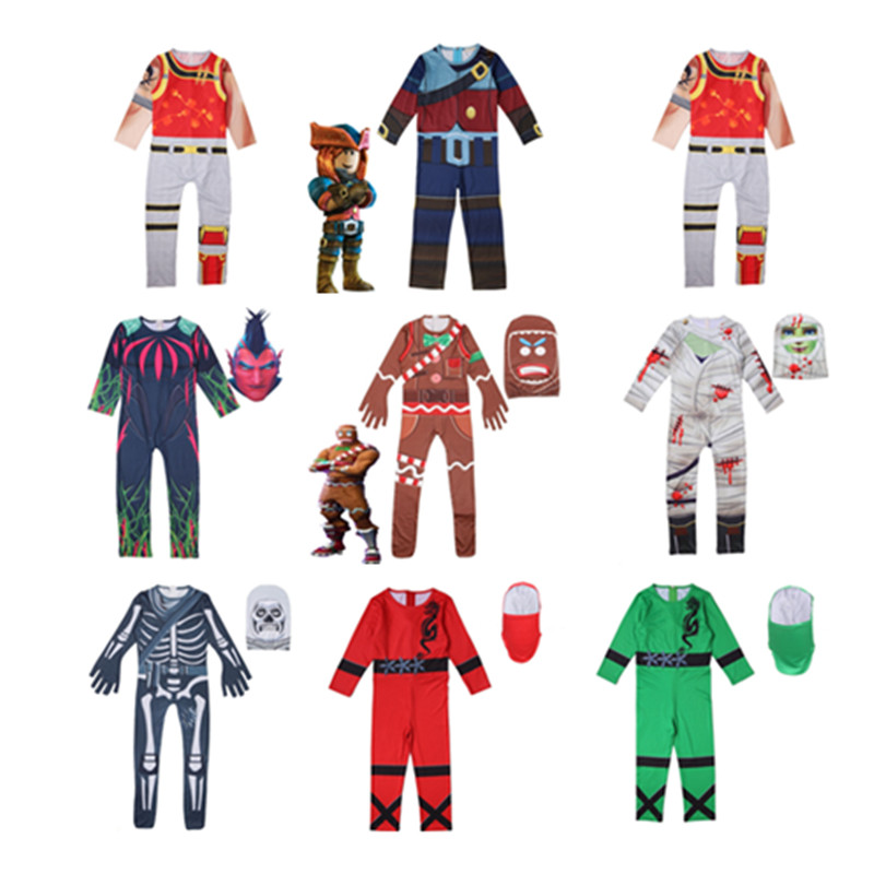 Halloween kids show costume new conjoined cosplay soldier skeleton gingerbread man 3D Print Jumpsuits child Tight bodysuit