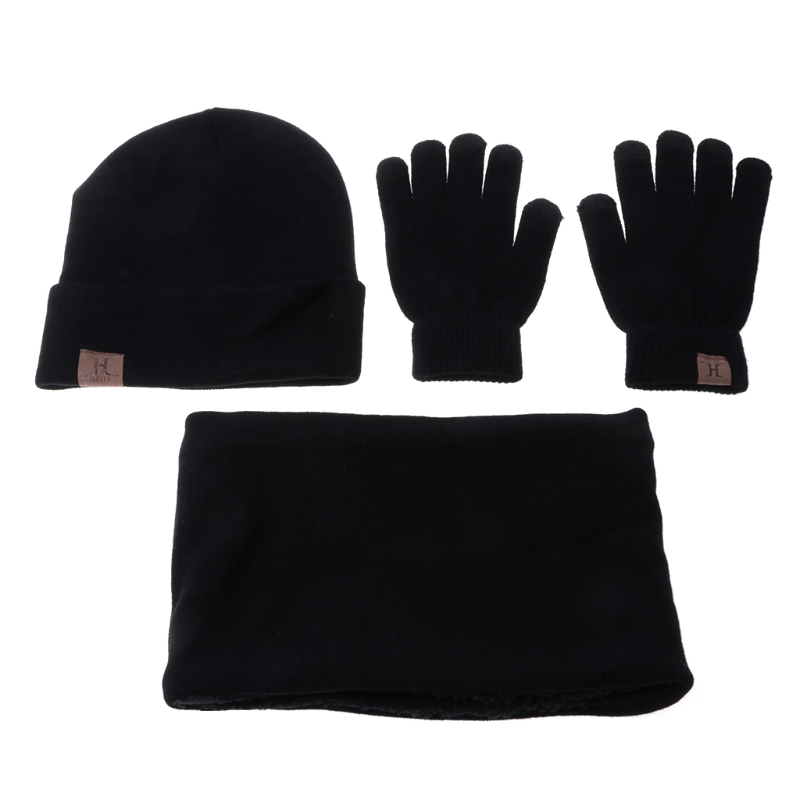 3 Pcs Unisex Men Women Knit Hat Scarf Touch Screen Gloves Warm Winter Set Solid New