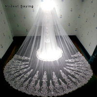 Luxury Ivory Super Royal 4.5M Sequined Cathedral Wedding Veils 2018 with Comb Church Sparkly Bridal Veils Wedding Accessories