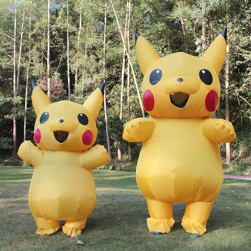 Hot Sale Vuxen och Barn Pikachu Uppblåsbara Kostym Rolig Klädselfit - Maskeradkläder och utklädnad
