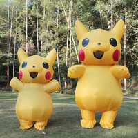 Hot Sale Adult And Children Pokemon Pikachu Inflatable Costume Funny Dress Suit Outfits Halloween Cosplay Inflatable Costume