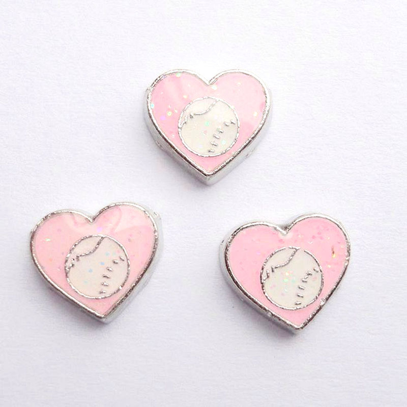 20 шт./лот DIY моды сплав розовые спортивные мячи сердечки амулеты для плавучий движущийся медальон на память - Окраска металла: 004