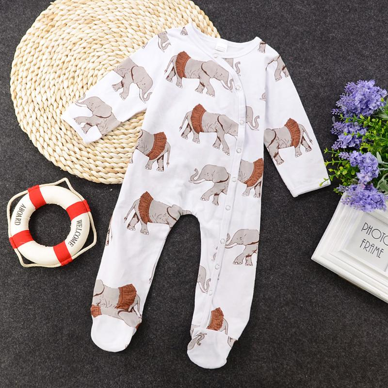 Cartoon Baby Footies Kawaii Animal Print Newborn Baby Long Sleeve Jumpsuit Boy Girl Clothes One Piece Infant Crawling Jumpsuit mixed print belted wrap jumpsuit