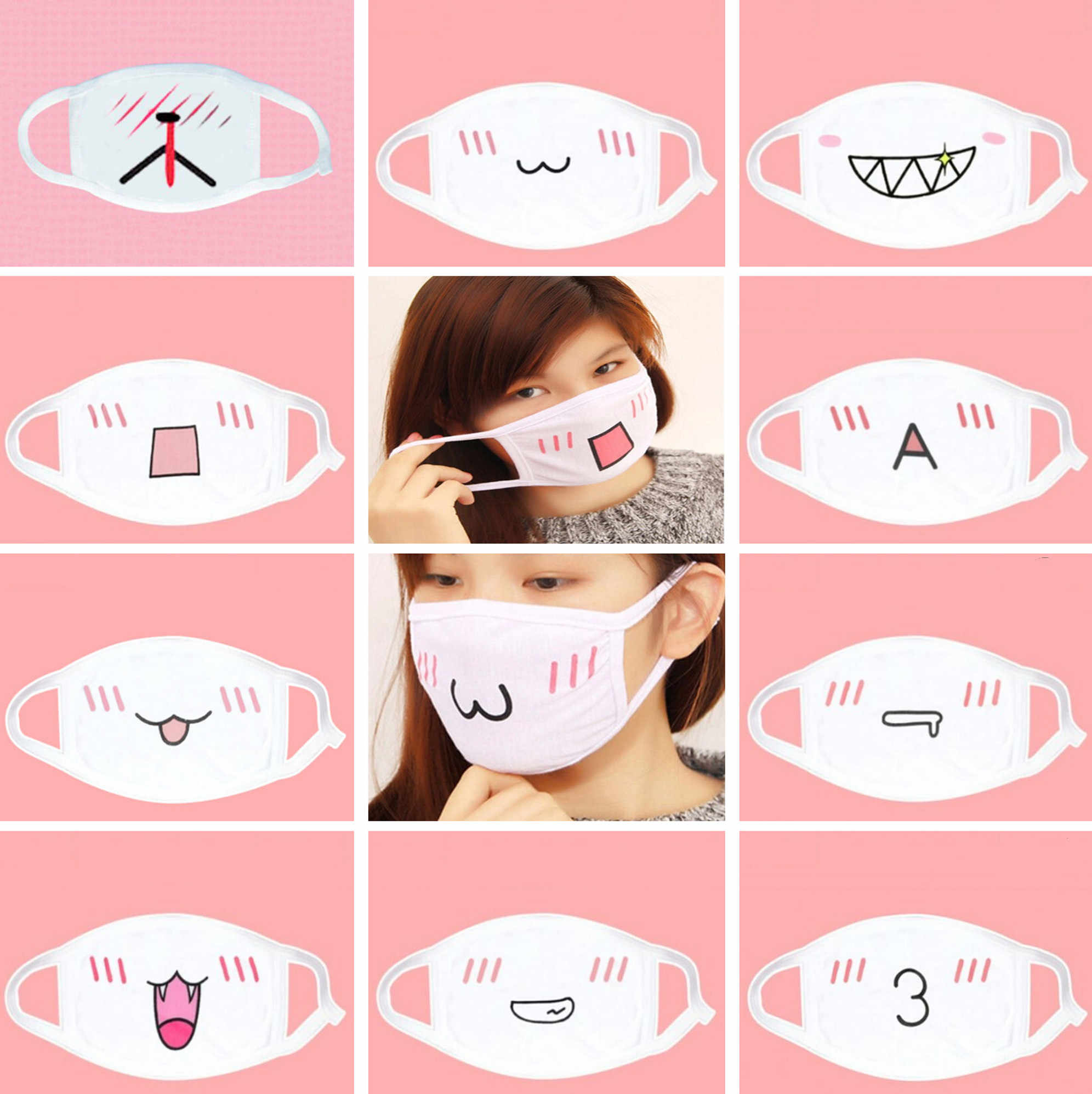 Hot Kawaii Anti Dust Mask Kpop Cotton Mouth Mask Cute Anime Cartoon Mouth Muffle Face Sexy Mask Emotiction Masque Kpop Masks