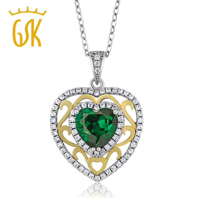 GemStoneKing  Solid 925 Sterling Silver Fine Jewelry 2.38 Ct Nano Emerald Two-ToneHeart Vintage Pendant Necklace For Women