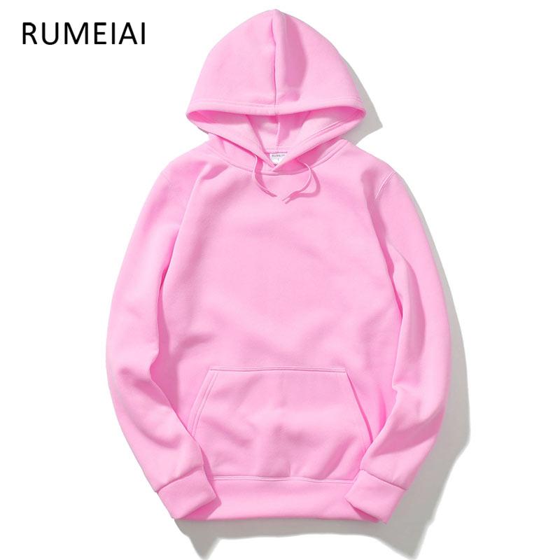 RUMEIAI 2019 Új rózsaszín / fekete / szürke / piros HOODIE Hip Hop utcai viselet Pulóverek Gördeszka Férfi / Nő Pulóver kapucnis Férfi Férfi kapucnis