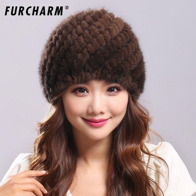 Sombrero De Piel De visón para Las Mujeres Genuino Natural Ruso Cap Gorros  Moda de Alta dc3ec0cc7580