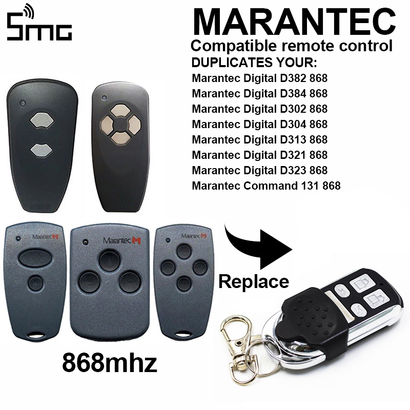 1pcs Marantec D302,D304 868Mhz <font><b>Garage</b></font> <font><b>door</b></font> <font><b>open</b></font>/Gate <font><b>remote</b></font> transmitter,Hormann HSM2 868,HSM4 868mhz replacement <font><b>remote</b></font> image