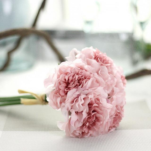 1 bouquet 5 heads peony flower Artificial Silk Fake Peony Floral Wedding Bridal Bouquet christmas 2017wedding home decoration