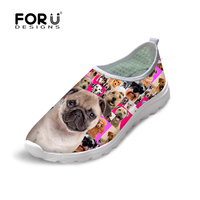 Brand Women Mesh Shoes Fashion Comfort Breathable Summer Casual Shoes Pug Dog Print Lace Up Pink