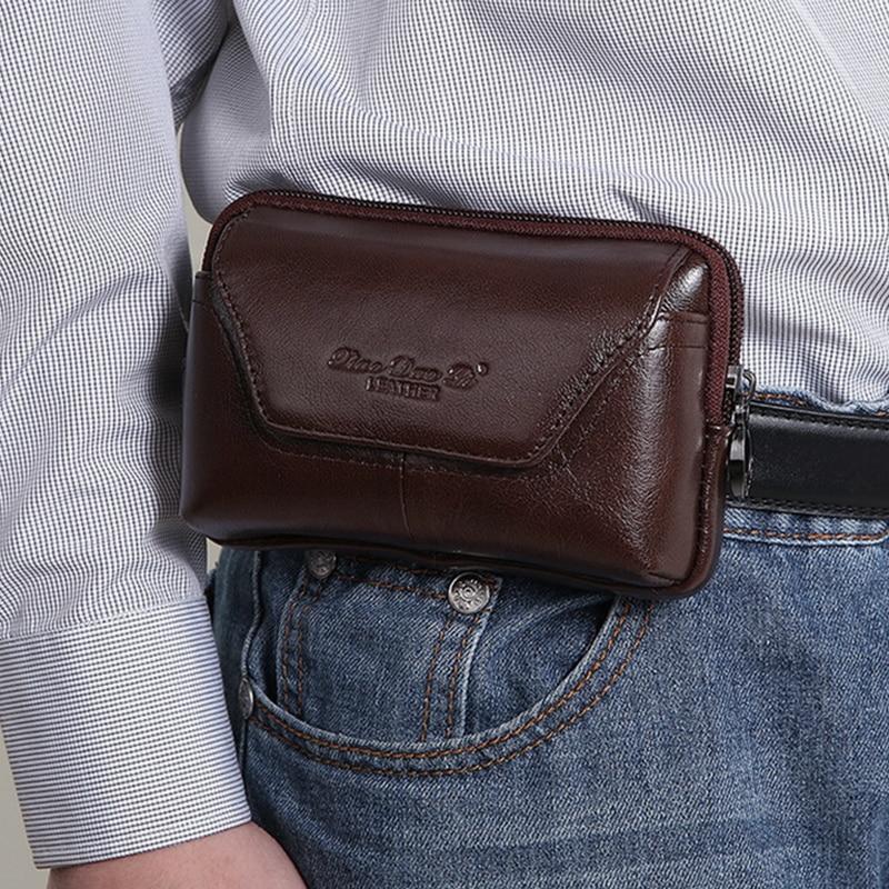 Férfi valódi bőr cowhide derék csomag táska pénztárcák öv csípő bomba érme erszényes cella / mobiltelefon cigaretta tok fedele Fanny táskák