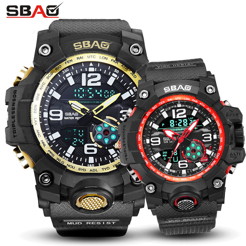 Men And Women Watches For Lovers Multi-function Couple Sports Electronic Dual Display Alarm Clock Wrist Watch Montre Homme